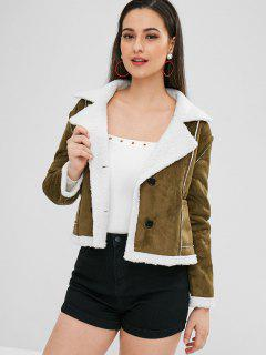 Faux Suede Pocket Fleece Jacket - Army Green L