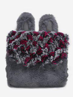 Animal Shape Faux Fur Crossbody Bag - Gray