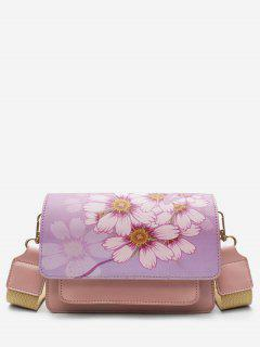 Flower Print PU Leather Crossbody Bag - Light Pink