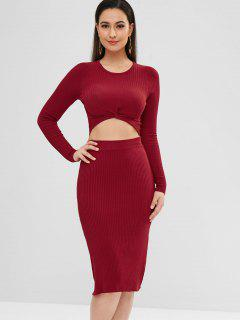 Ribbed Twisted Top And Skirt Set - Red Wine M