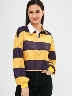 Raw Hem Striped Drop Shoulder Sweatshirt - Multi L