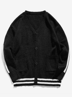 V Neck Button Up Striped Cardigan - Black L