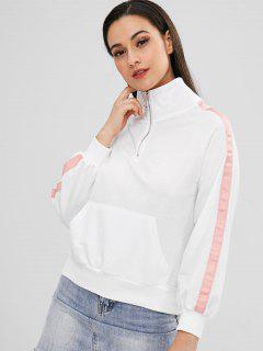 Contrast Trim Front Pocket Sweatshirt - White
