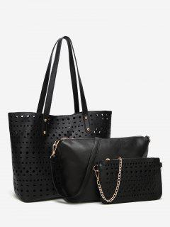 Hollow Out 3 Pieces Shoulder Bag Set - Black