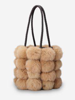 Faux Fur String Design Handbag - Light Khaki