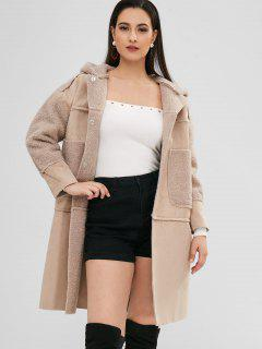 Hooded Fluffy Coat With Pocket - Apricot