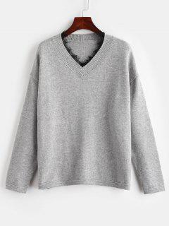 Lace Trim Boxy Drop Shoulder Sweater - Gray