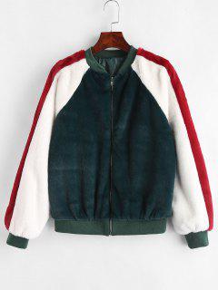Color Block Fluffy Jacket - Deep Green L