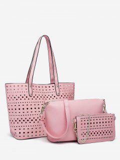 Hollow Out 3 Pieces Shoulder Bag Set - Light Pink