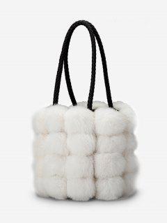 Faux Fur String Design Handbag - White