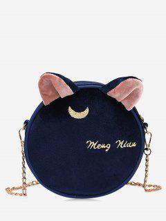 Cat Shape Letter Print Crossbody Bag - Blue Ivy