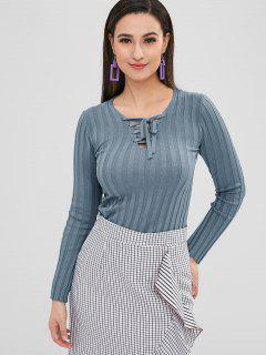 Lace Up Fitted Knit Top - Blue Gray