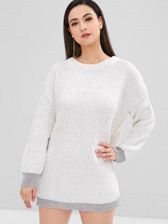 Loose Longline Contrast Sweater - White