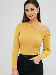 Ribbed Cut Out Lace Up Sweater - Mustard