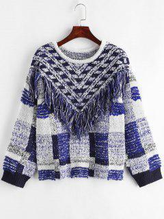 Suéter Geométrico Con Flecos Y Hombros Caídos - Multicolor