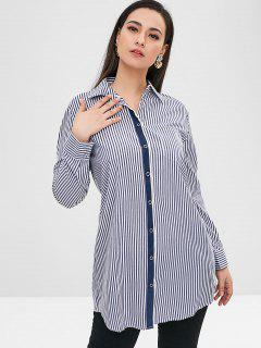 Chemise Longue Tunique Rayée Avec Poche - Multi S