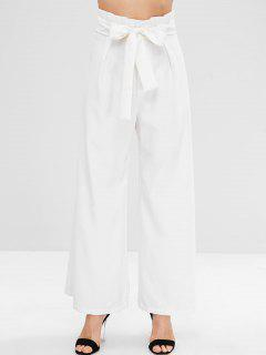 ZAFUL Ruffles Belted Wide Leg Pants - White L