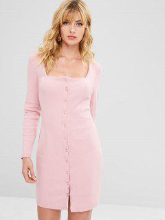 Square Collar Ribbed Bodycon Dress - Pink L