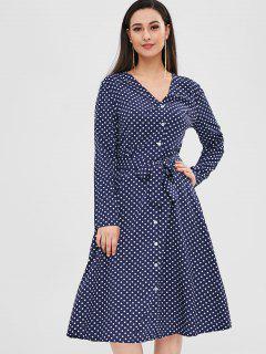 Buttoned Polka Dot Belted Dress - Deep Blue M