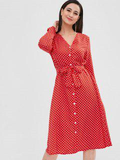 Buttoned Polka Dot Belted Dress - Red L