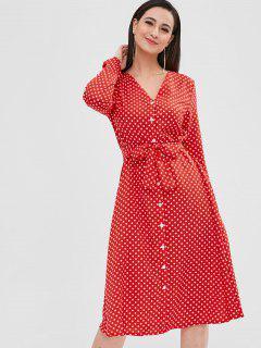 Vestido Con Cinturón De Lunares Con Botones - Rojo M