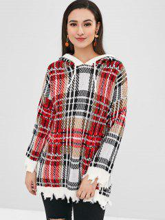 Plaid Ripped Hooded Sweater - Multi