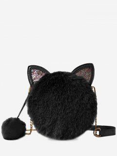 Cat Shape Faux Fur Crossbody Bag - Black