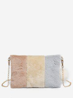 Color Block Faux Fur Crossbody Bag - Ash Gray