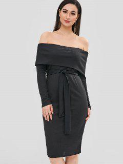 Off Shoulder Belted Overlay Dress - Black M