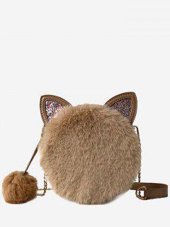 Cat Shape Faux Fur Crossbody Bag - Khaki