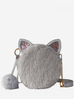 Cat Shape Faux Fur Crossbody Bag - Gray