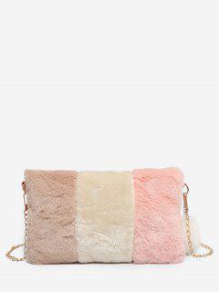 Color Block Faux Fur Crossbody Bag - Light Pink