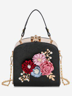 Hasp Closure Flower Chain Crossbody Bag - Black