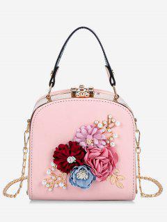 Hasp Closure Flower Chain Crossbody Bag - Light Pink