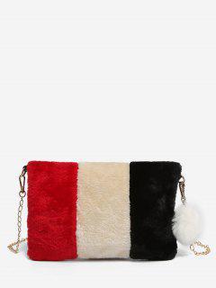 Color Block Faux Fur Crossbody Bag - Black