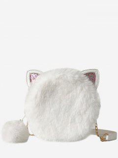 Cat Shape Faux Fur Crossbody Bag - White