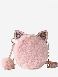 Cat Shape Faux Fur Crossbody Bag - Light Pink