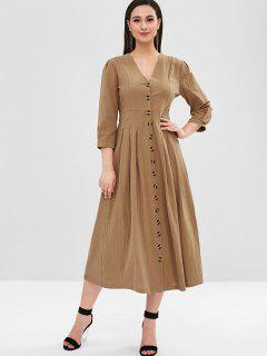 Button Up Casual Midi Dress - Camel Brown Xl