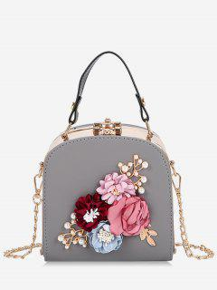 Hasp Closure Flower Chain Crossbody Bag - Ash Gray