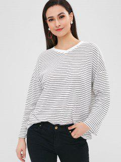 Drop Shoulder Striped Loose T-shirt - White