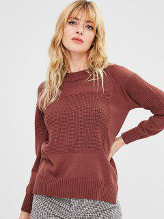 Side Slit Crew Neck Sweater - Chestnut