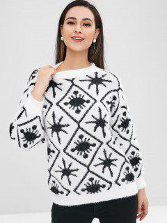 Graphic Pattern Drop Shoulder Sweater - White
