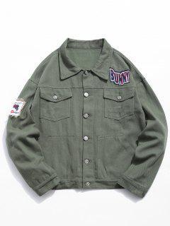 Multi Pocket Applique Embellished Denim Jacket - Army Green Xl