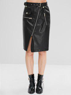 Zippered Faux Leather Biker Skirt - Black M
