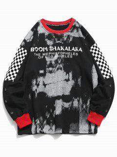 Checked Patchwork Pullover Sweatshirt - Black M