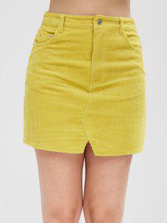 Corduroy Pockets Mini Skirt - Goldenrod S