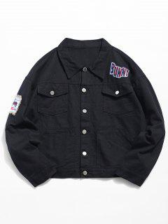 Multi Pocket Applique Embellished Denim Jacket - Black 2xl