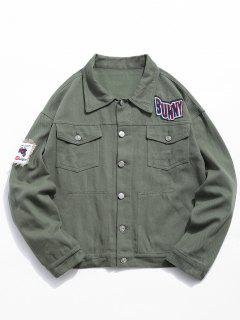 Multi Pocket Applique Embellished Denim Jacket - Army Green 2xl