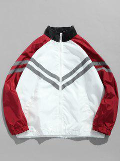 Panel Raglan Sleeve Striped Jacket - Red L