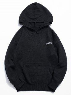 Solid Color Hooded Pullover Sweater - Black L
